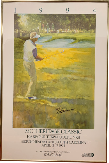 Hale Irwin signed 1994 MCI Heritage Classic Harbour Town Golf Links Poster/Photo Custom Framing  (22x32)- JSA Hologram #EE41841