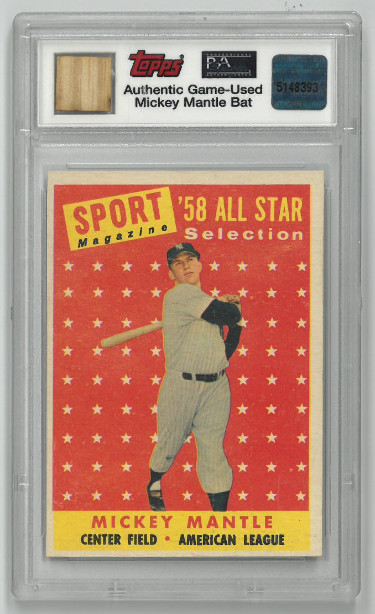 Mickey Mantle New York Yankees 1958 Topps All-Star Baseball Card #487- PSA Graded NM 7 w/ Authentic Game Used Mantle Bat Relic