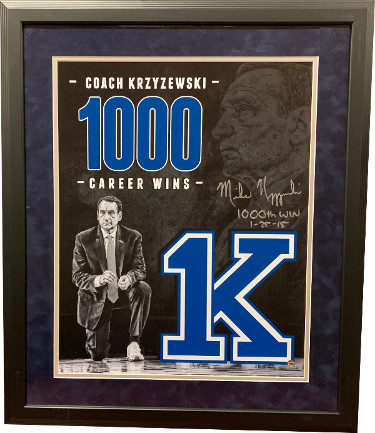 "Mike Krzyzewski signed Duke Blue Devils Tribute 16x20 Photo Framing ""1000th Win 1-25-15"" imperfect (Coach K)- Steiner"