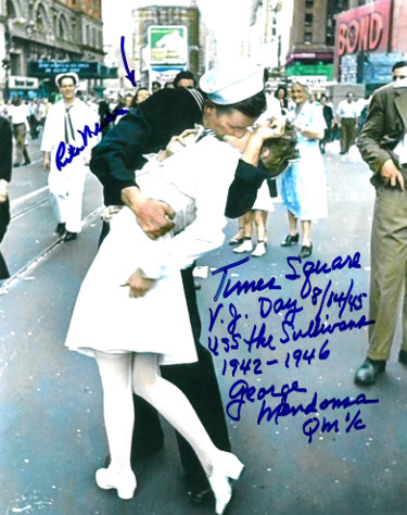 George & Rita Mendonsa dual signed Kissing Sailor Times Square 8x10 Photo VJ Day 8/14-45 USS Sullivans-  PSA Hologram #AD57156