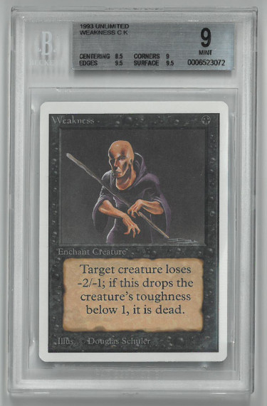 1993 Magic The Gathering Unlimited Weakness CK Trading/Game Card- Beckett Graded 9 Mint