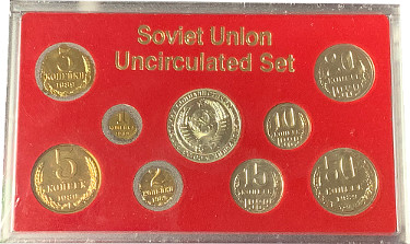 1989 Soviet Union USSR / Russia Uncirculated 9- Coin Set - Leningrad Mint Sealed Case