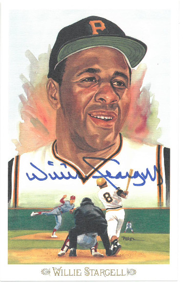 Willie Stargell signed 1989 Pittsburgh Pirates Perez-Steele Celebration Postcard (photo) #40- JSA Hologram #DD64324