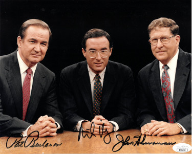 Pat Buchanan/Michael Kinsley/John Sununu triple signed Crossfire/New Republic 8x10 Photo- JSA Hologram #EE41606