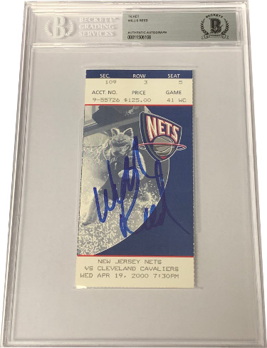 Willis Reed signed New Jersey Nets Ticket April 19, 2000 vs Cleveland Cavaliers- Beckett BAS #00011506108