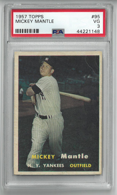Mickey Mantle New York Yankees HOF 1957 Topps Card #95- PSA Graded 3 Very Good