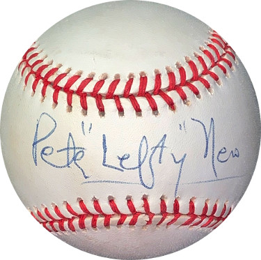 "Peter ""Lefty"" Nero signed ROAL Rawlings Official American League Baseball very minor tone spot- JSA Holo #EE41828 (pianist)"