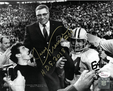 Jerry Kramer signed Green Bay Packers Vintage B&W 8X10 Photo HOF 2018- JSA Witnessed Hologram (with Vince Lombardi)