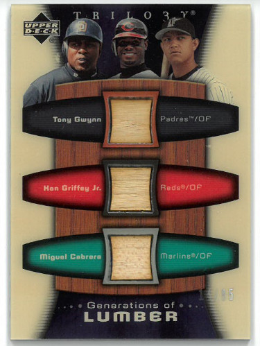 Ken Griffey, Jr./Tony Gwynn/Miguel Cabrera 2005 Upper Deck Trilo3y Game Used Lumber/Bat Card #GEN-GGC- LTD 14/85