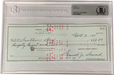 Sam Snead PGA/Golf 3x8 Bank Check Signed In Black Beckett BAS #0010734644
