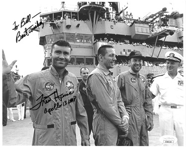 Fred Haise signed NASA Astronaut/Pilot Vintage B&W 8x10 Photo Apollo 13 LMP Best Wishes To Bill- JSA Hologram #EE62132