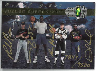 Shaquille O'Neal/Desmond Howard/Phil Nevin/Roman Hamrlik signed 1992 Classic Four Sports Future Superstars Rookie Card (RC)- LTD