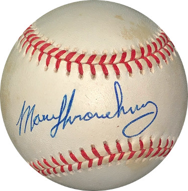 Marv Throneberry signed ROAL Rawlings Official American League Baseball minor spots- JSA Hologram #EE41714 (New York Yankees)