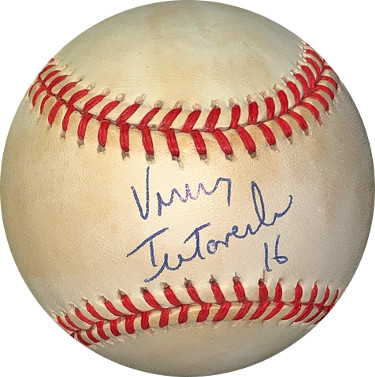 Vinny Testaverde signed ROAL Rawlings OFC American League Baseball #16 minor tone spots- JSA #EE41715 (Buccaneers/Browns/Jets)