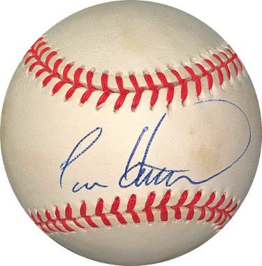 Todd Hundley signed RONL Rawlings Official National League Baseball very minor spots- JSA Hologram #EE41671 (Mets/Dodgers/Cubs)