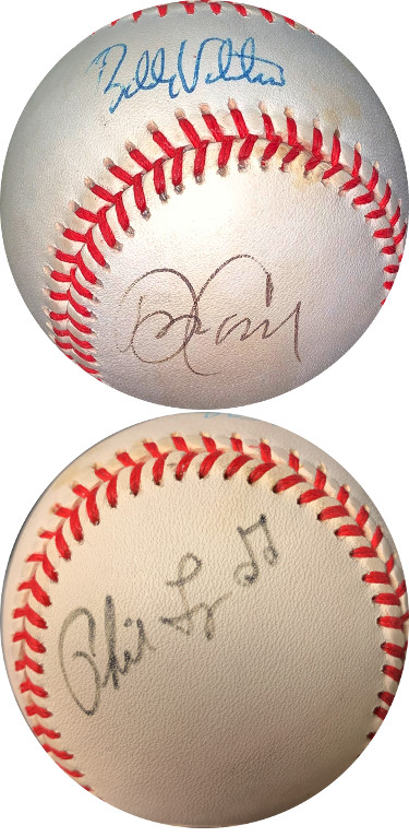 Dave/David Cone/Bobby Valentine/Phil Linz triple signed RONL Rawlings OFC National League Baseball minor tone spots- JSA (Mets)