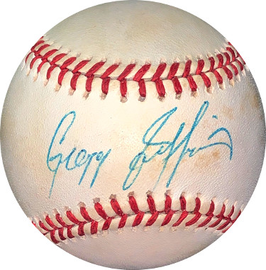 Gregg Jefferies signed RONL Rawlings Official National League Baseball minor tone spots- JSA Hologram #EE41654 (New York Mets)