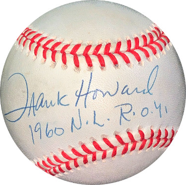 Frank Howard signed RONL Rawlings Official National League Baseball 1960 NL ROY- JSA Hologram #EE41619 (Los Angeles Dodgers)