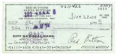 Red Buttons signed 1974 Personal Cancelled Check- PSA LOA- NM Signature