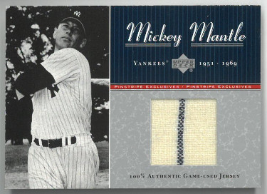 Mickey Mantle New York Yankees 2001 Upper Deck Pinstripe Exclusives Game-Used Jersey Card #MM-J3- LTD 40/100