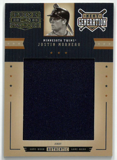 Justin Morneau Minnesota Twins 2005 Donruss Prime Patches Game Worn Jersey Card #NG-11- LTD 108/156