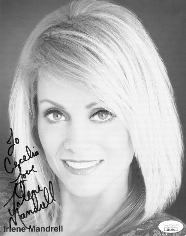 Irlene Mandrell signed B&W 7.5x9.5 Photo Love To Cecelia- JSA Hologram #EE62743 (musician/actress/model)