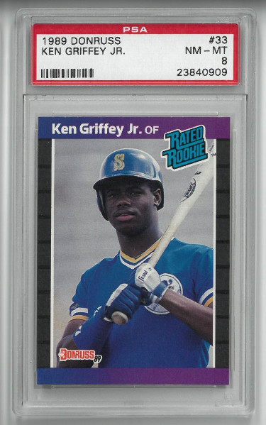Ken Griffey, Jr. Seattle Mariners 1989 Donruss Rated Rookie Baseball Card (RC) #33- PSA Graded 8 Near Mint-Mint