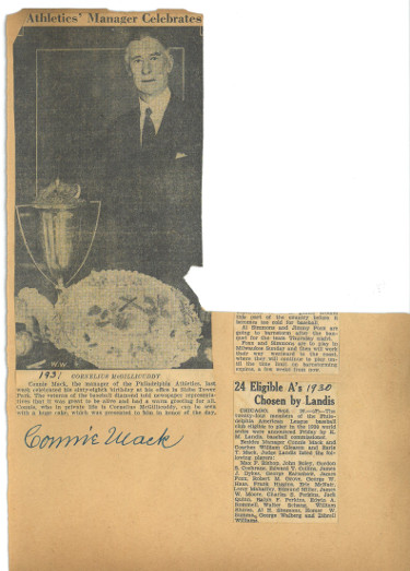 Connie Mack signed 8x11 Scrapbook Page w/ Vintage 1931 Newspaper Clippings- JSA LOA #BB32151