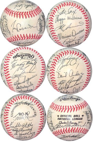 1986 Los Angeles Dodgers Team Signed Official RONL Baseball/Feeney- JSA LOA- Steve Sax/Fernando Valenzuela/Mike Scioscia
