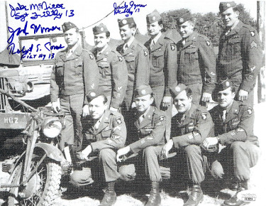 Filthy 13 signed WWII Bastogne/Normandy/P.O.W. Vintage 8.5x11 Photo (4 sigs) Jake McNiece/Jack Agnew/Jake Womer/Robert Cone JSA