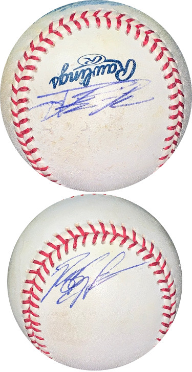 Mike Napoli & Reggie Willits dual signed Rawlings Official Major League Baseball imperfect- JSA Hologram #EE63466 (Angels)