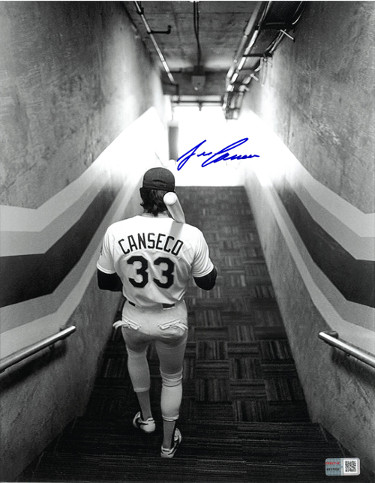 Jose Canseco signed Oakland A's B&W 11x14 Photo- Tri-Star Hologram