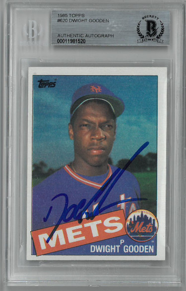 Doc/Dwight Gooden signed 1985 Topps Baseball Rookie Card (RC) #620- Beckett BAS #00011981520 (New York Mets)