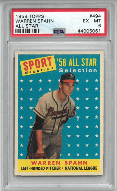 Warren Spahn 1958 Topps All Star Baseball Card #494- PSA Graded 6 Excellent-Mint (Milwaukee Braves)