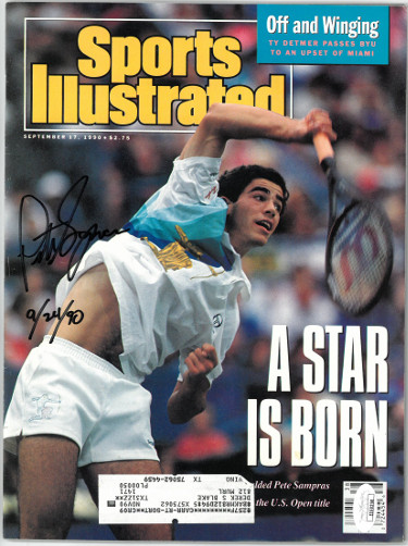 Pete Sampras signed Tennis Sports Illustrated Full Magazine 9/17/1990 w/9/24/90 insc- JSA #EE60258