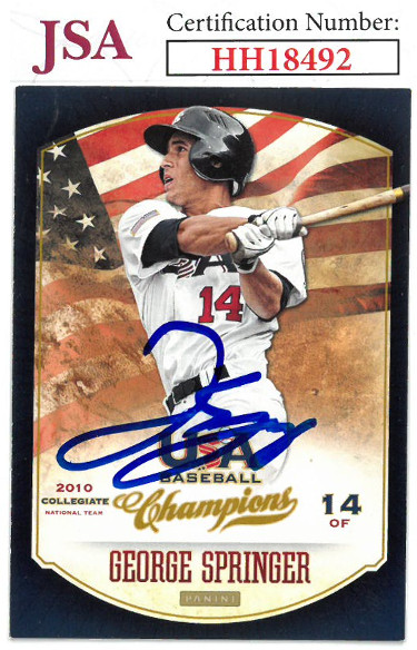 George Springer signed 2013 Panini USA Champions Baseball Card #112- JSA #HH18492 (Team USA)