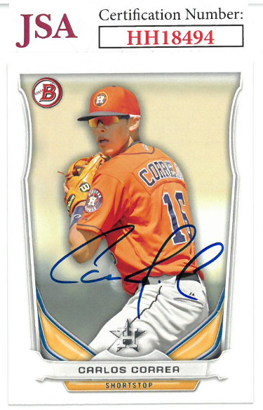 Carlos Correa signed 2014 Bowman Draft Top Prospects Baseball Card #TP-3- JSA #HH18494 (Houston Astros)