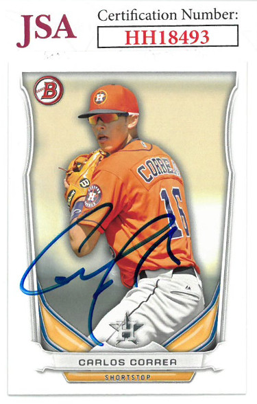 Carlos Correa signed 2014 Bowman Draft Top Prospects Baseball Card #TP-3- JSA #HH18493 (Houston Astros)