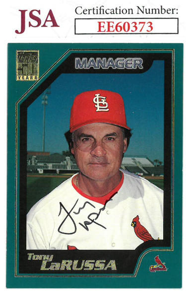 Tony La Russa signed 2000 Topps 50 Years Baseball Card #349- JSA #EE60373 (St. Louis Cardinals)
