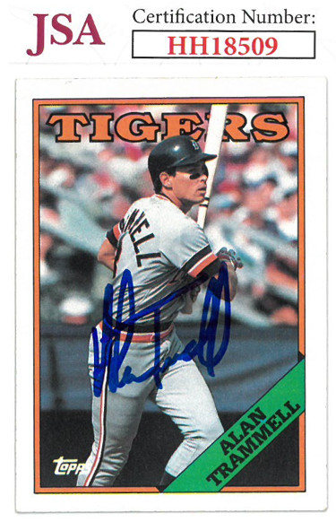 Alan Trammell signed 1988 Topps Baseball Card #320- JSA #HH18509 (Detroit Tigers)