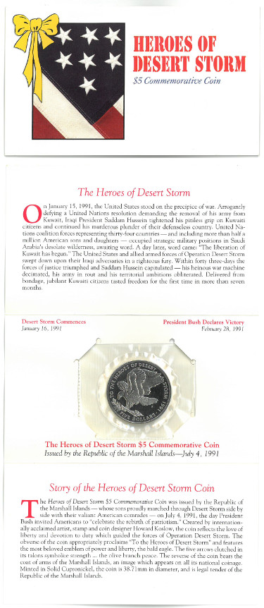 1991 Heroes of Desert Storm $5 Republic of Marshall Islands Commemorative Coin Uncirculated