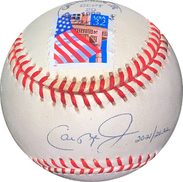 Cal Ripken Jr signed Official Rawlings ROAL American League Baseball– Ripken #8 Hologram (Sept 20, 1998 Streak #2021/2632 Games)