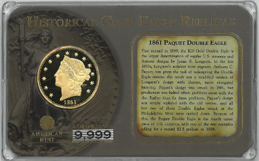 American Mint Historical Gold Eagle Replicas 1861 Paquet Double Eagle Coin 24K Layered– Encased