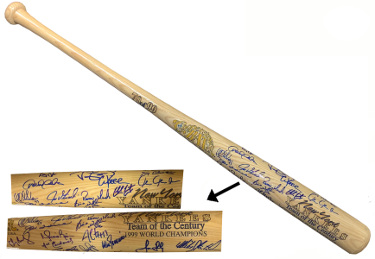 1999 NY Yankees Team Signed Cooperstown World Series Bat 24 Sigs Joe Torre/Bernie Williams/David Cone- JSA LOA #BB65506