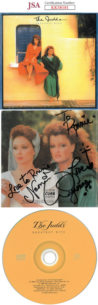 Wynonna & Naomi Judd dual signed 1996 The Judds Greatest Hits Album Cover w/ CD & Case To Ronnie- JSA #KK58181