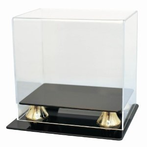 Football Mini Helmet Deluxe Acrylic Display Case , Two-Tier Gold Risers & Black Base