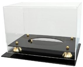Football Full Size Acrylic Deluxe Display Case with Gold Risers, black base