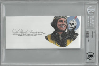 "Col CE ""Bud"" Anderson signed 3""x6.5"" cut signature w/ Image– BAS/Beckett Encapsulated (WWII USAF Triple Ace Pilot P-51 Mustang)"
