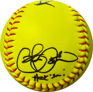 Cat Osterman signed 12 Inch Yellow Epic Sports Fastpitch Softball #8 Hook Em!- Radtke Holo (Olympics Team USA Gold Medal/6X AS)