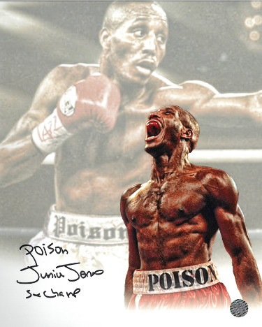 Poison Junior Jones signed Boxing Collage 8x10 Photo Poison/5X Champ- AWM Hologram
